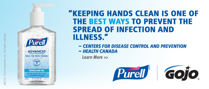 Banner ad showing Purell Hand Sanitizer with quote about preventing spread of infection and coronavirus