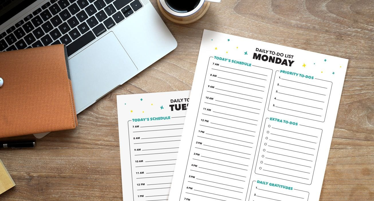 Printable weekly planner to-do lists help you stay organized and productive in your new home office.